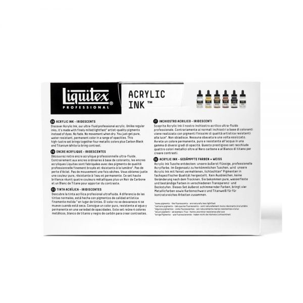 Liquitex Ink Iridescent Set Package Back